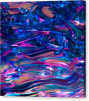 The Blues Have It - Glass Macro Abstract Canvas Print by David Patterson