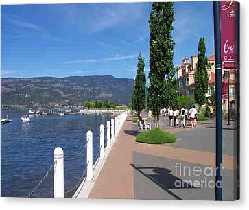 Canvas Print featuring the painting The Boardwalk In Kelowna   by Rod Jellison