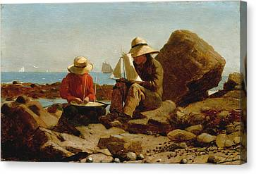 The Boat Builders - 1873 Canvas Print by Winslow Homer