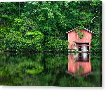 The Boat House At Desoto Falls Canvas Print by Phillip Burrow