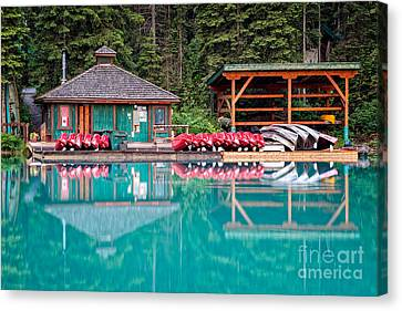The Boat House At Emerald Lake In Yoho National Park Canvas Print