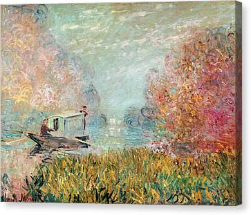 The Boat Studio On The Seine Canvas Print by Claude Monet