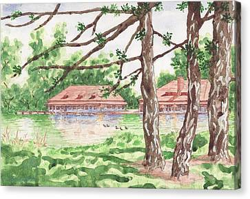 The Boathouse At Forest Park Canvas Print by Bill Torrington