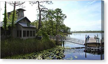 The Boathouse At Watercolor Canvas Print