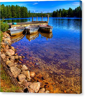 Row Boat Canvas Print - The Boats On White Lake by David Patterson