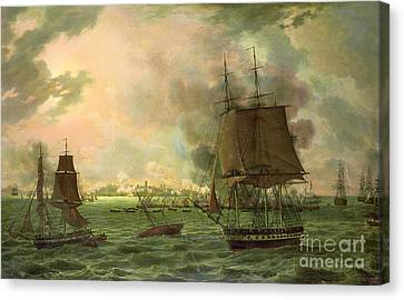 The Bombing Of Cadiz By The French  Canvas Print by Louis Philippe Crepin