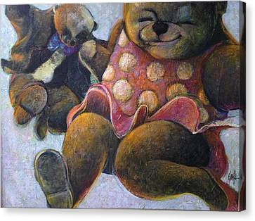 Canvas Print featuring the painting The Boogie Woogy Bears by Eleatta Diver