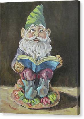 The Book Gnome Canvas Print by Cheryl Pass