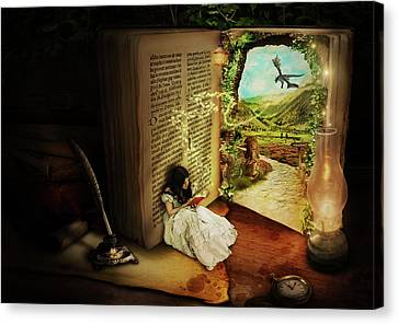 Oil Lamp Canvas Print - The Book Of Secrets by Donika Nikova