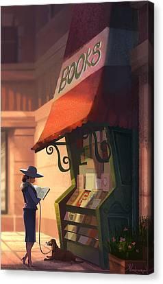 The Bookstore Canvas Print by Kristina Vardazaryan