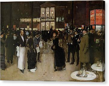 The Boulevard At Night Canvas Print by Jean Beraud