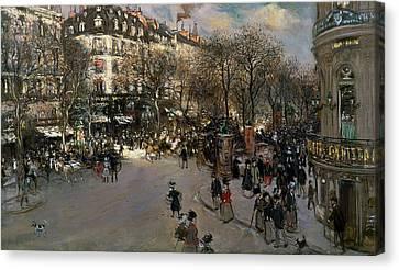 The Boulevards Canvas Print - The Boulevard Des Italiens by Jean Francois Raffaelli