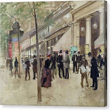 The Boulevards Canvas Print - The Boulevard Montmartre And The Theatre Des Varietes by Jean Beraud