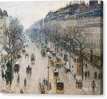 The Boulevard Montmartre On A Winter Morning, 1897  Canvas Print by Camille Pissarro
