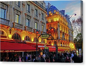 The Boulevard Saint Michel At Dusk In Paris, France Canvas Print by Richard Rosenshein