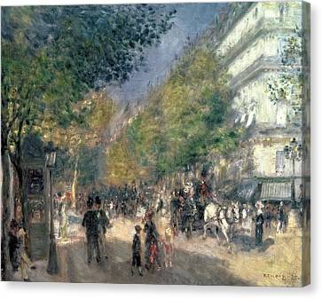 Wagon Canvas Print - The Boulevards  by Pierre Auguste Renoir