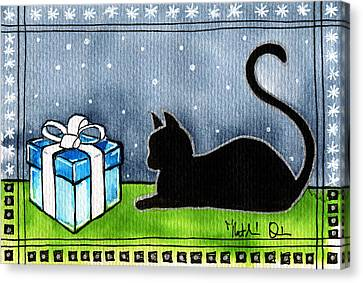 The Box Is Mine - Christmas Cat Canvas Print
