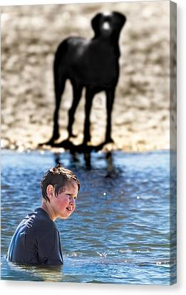 Canon 7d Canvas Print - The Boy And His Dog by Mr Bennett Kent