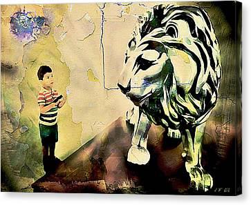 The Boy And The Lion Graffiti Creator,street-art Graffiti,street-art,graffiti Art Street,banksy Art, Canvas Print