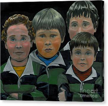 Canvas Print featuring the painting The Boys Down The Street by Gail Finn