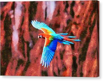 Peafowl Canvas Print - The Brazilian Arara - Da by Leonardo Digenio