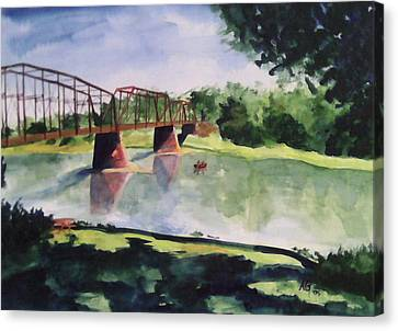 The Bridge At Ft. Benton Canvas Print by Andrew Gillette