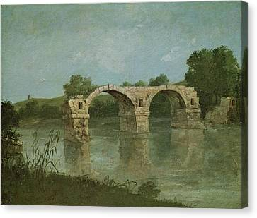 Ruins Canvas Print - The Bridge At Ambrussum by Gustave Courbet