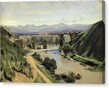 The Bridge Of Augustus Over The Nera Canvas Print by Jean Baptiste Camille Corot