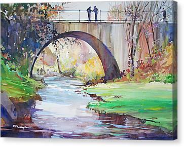 The Bridge Over Brewster Garden Canvas Print by P Anthony Visco