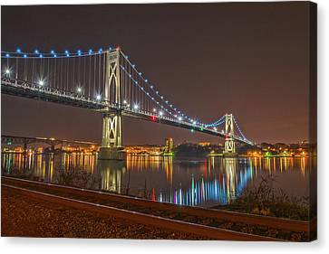 The Bridge With Blue Holiday Lights Canvas Print