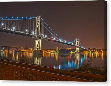 The Bridge With Blue Holiday Lights Canvas Print by Angelo Marcialis
