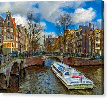 Canvas Print featuring the photograph The Bridges Of Amsterdam by Juan Carlos Ferro Duque