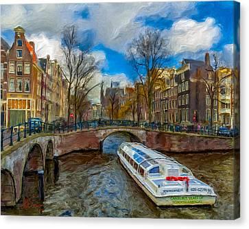 Canvas Print featuring the photograph The Bridges Of Amsterdam by Juan Carlos Ferro Duque