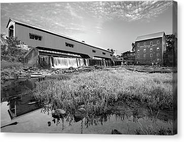 Old Mill Scenes Canvas Print - The Bridgeton Mill And Covered Bridge - Indiana - Monochrome by Gregory Ballos