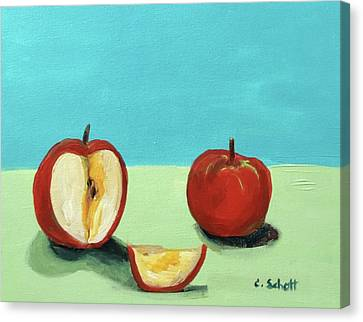 The Brilliant Red Apples With Wedge Canvas Print