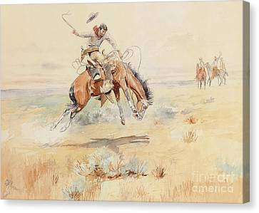 Reins Canvas Print - The Bronco Buster by Charles Marion Russell