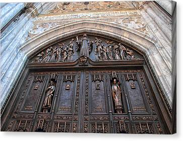 The Bronze Doors Of St. Patrick's Canvas Print by Jessica Jenney
