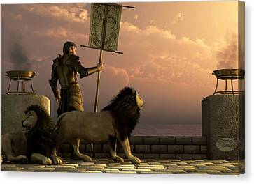 The Bronze Knight Of The Isle Of Lions Canvas Print by Daniel Eskridge