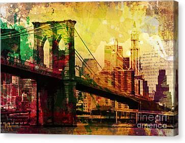 Times Square Canvas Print - The Brooklyn Bridge by Maria Arango