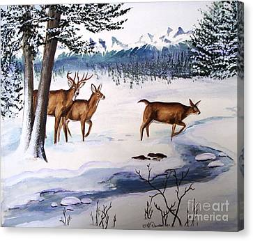 Canvas Print featuring the painting The Buck Stops Here by Patricia L Davidson