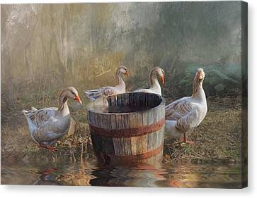 Canvas Print featuring the photograph The Bucket Brigade by Robin-Lee Vieira