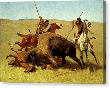Remington Canvas Print - The Buffalo Hunt by Frederic Remington