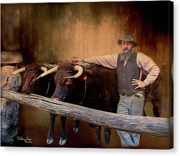 Canvas Print featuring the photograph The Bullock Driver by Wallaroo Images