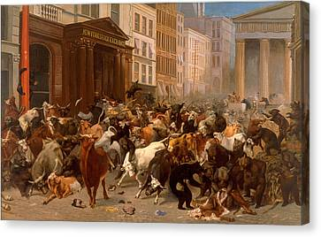 The Bulls And Bears In The Market Canvas Print by William Holbrook Beard
