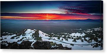 Canvas Print featuring the photograph The Burning Clouds At Crater Lake by William Lee
