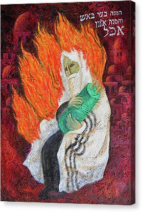 The Bush Was Burning In The Fire, But The Bush Was Not Consumed Canvas Print by Leon Zernitsky