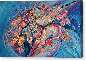 The Butterflies On Blue Canvas Print