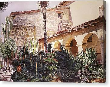 The Cactus Courtyard - Mission Santa Barbara Canvas Print by David Lloyd Glover