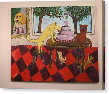 Canvas Print featuring the painting The Cake by AJ Brown