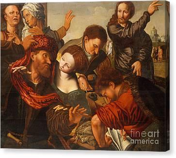 Gospel Of Matthew Canvas Print - The Calling Of Matthew by Jan van Sanders Hemessen